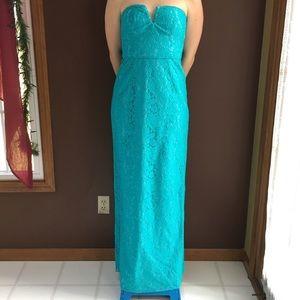 Aqua lace covered long straight dress